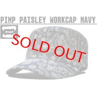 PIMP ペイズリー WORK CAP NAVY