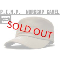 P.I.M.P LOGO WORK CAP CAMEL
