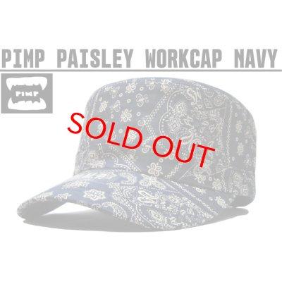 画像1: PIMP ペイズリー WORK CAP NAVY
