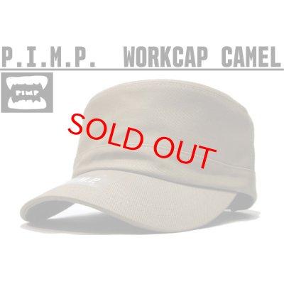 画像1: P.I.M.P LOGO WORK CAP CAMEL
